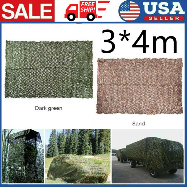 Woodland Camouflage Netting Military Camo Hunting Shooting Hide Cover Net Q4Z5