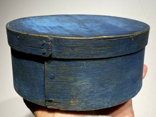 "Early 1800s Antique Exceptional Blue Pantry Box 7"" Original Paint Small Box Nice"