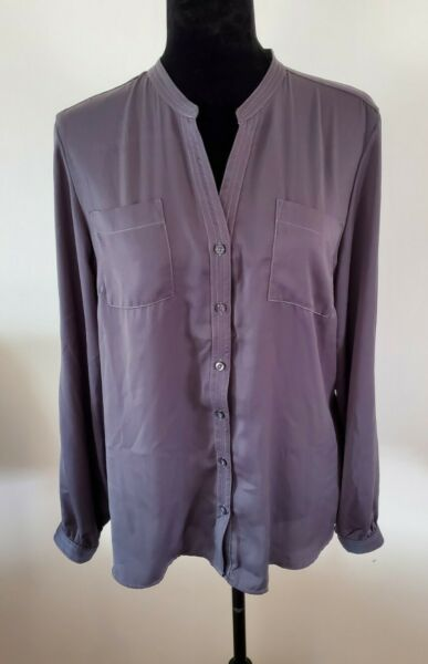 NWT Womens Izod Grey Button Front Long Sleeve V Neck Career Blouse Large