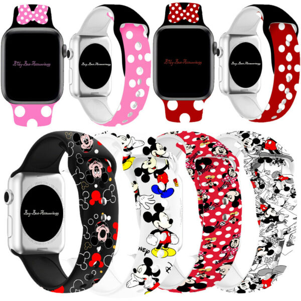 Mickey Mouse Silicone Minnie Band Strap For Apple iWatch Series 6 5 4 3 2 1 $8.99