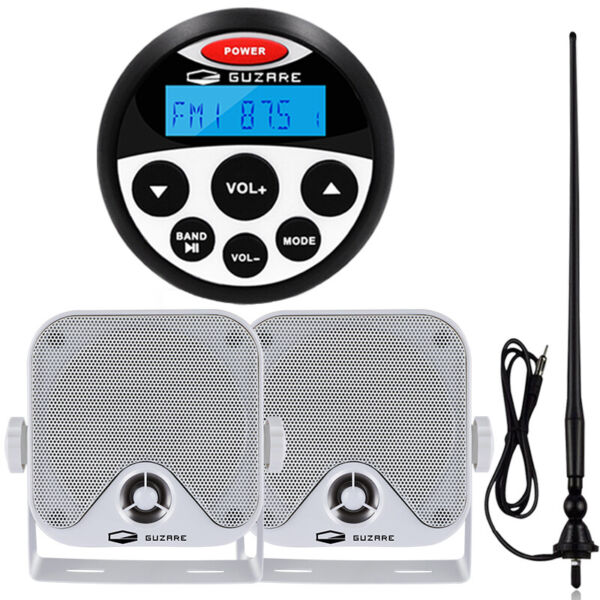 Boat Radio Marine Audio Receiver 4#x27;#x27; Waterproof Stereo Speakers Antenna $88.19