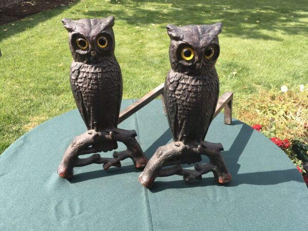 VINTAGE OWL CAST IRON ANDIRONS GLASS EYES TOP CONDITION