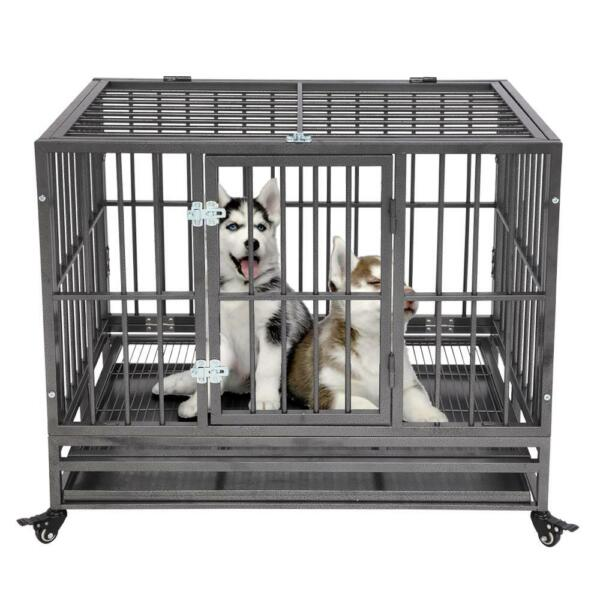 36quot; Heavy Duty Dog Cage Strong Metal Kennel Large Crate Playpen w Wheels Sliver