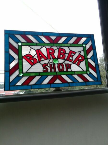 🔴 Stained Glass Window Barber Shop Sign Vintage Antique Style
