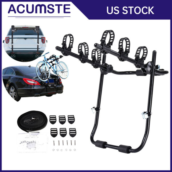 Car Hitch Mount 3 Bike SUV Trunk Rack Bicycle Cycle Sedans Carrier Holder Black $47.99
