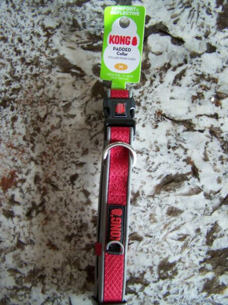 New KONG PADDED COLLAR COMFORT REFLECTIVE DOG SIZE M 14quot; 20quot; RED $14.90