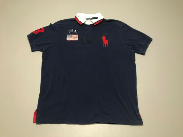 Polo Ralph Lauren Big Pony #3 Blue Red USA Flag Short Sleeve Polo Shirt Size XL