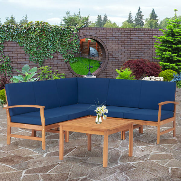 Patio Outdoor Furniture Set 6 Pcs Sectional Sofa Cushioned Chair with Tea Table $591.99