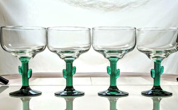 Set of 4 LIBBEY Siesta Green Cactus Stem Margarita Cocktail Glasses Barware EUC $19.99