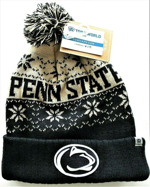 Top Of The World Penn State Nittany Lions Blue Buddy Cuff Knit Pom Beanie NWT $13.99