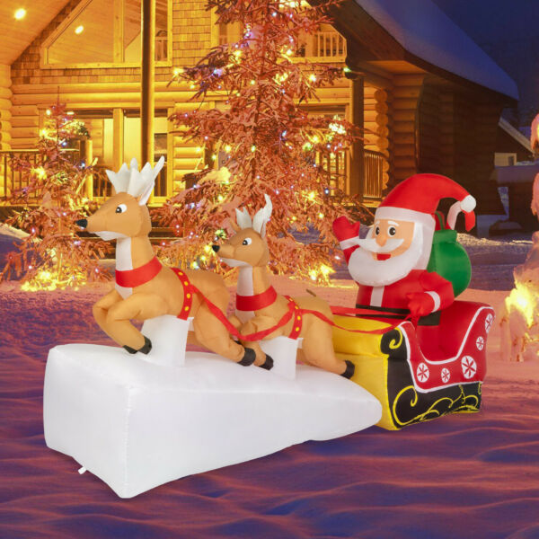 7ft Christmas Inflatable Santa Claus With Double Reindeer LED Lights Yard Decor $55.99