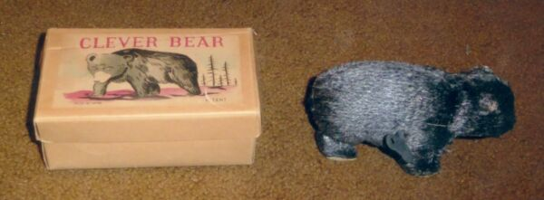 1940's Mechanical Cleaver Bear amp; Box Made in OCCUPIED JAPAN Bear Does Works $36.50