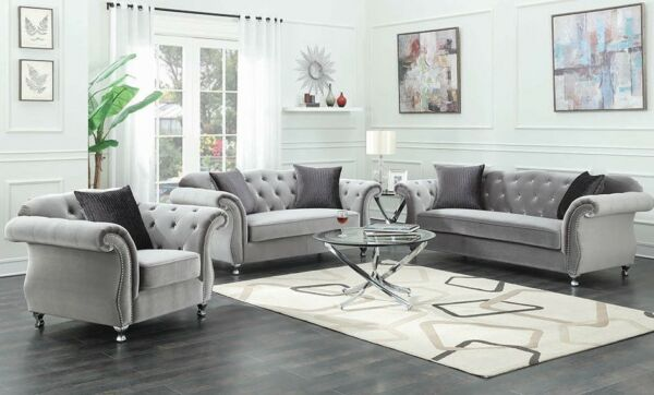 Modern Luxe Glam Living Room 2 Piece Sofa Set Couch amp; Chair Silver Velvet $1600.00