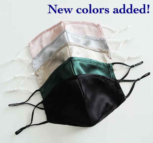 Nose Wire Mulberry Silk Face Mask 100% with Adjustable Straps and Chin Support