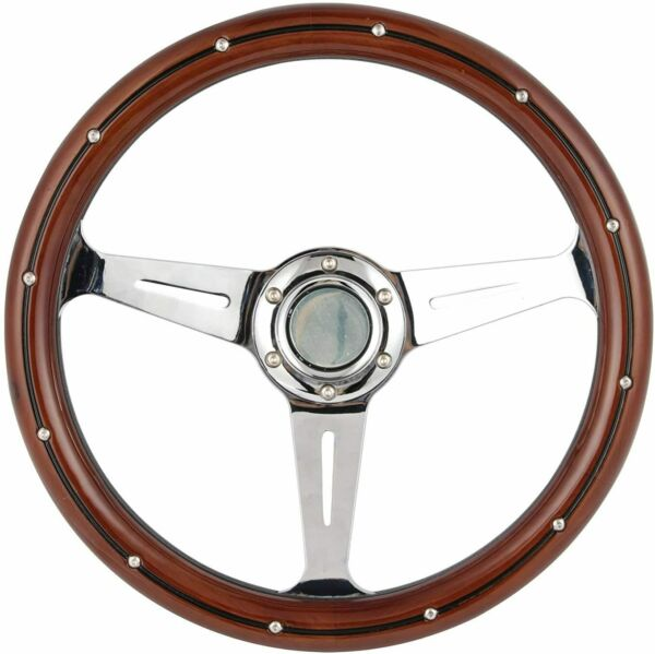 350mm Classic Wood Steering Wheel with Rivets Chrome 3 Spoke Button $86.99