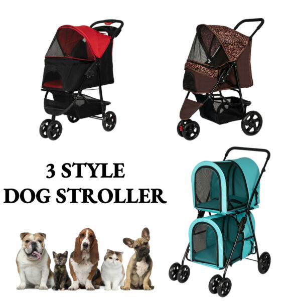 Dog Cat Pet Jogging Stroller Folding Travel Carrier Cage Small Animal Supply $59.99