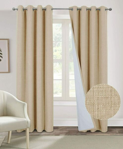 Alexandra Cole 100% Blackout Curtains for Bedroom Living Room Burlap Curtains 2