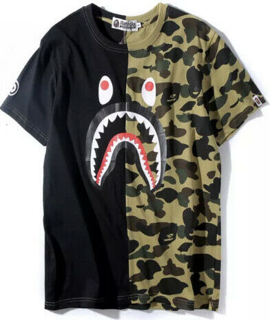 MENS A BATHING APE T SHIRT SHARK CAMO LARGE ONLY