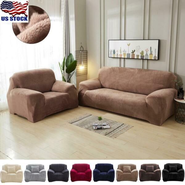 US Plush Stretch Sofa Cover Slipcover Cushion Cover Pillow Case Furniture Covers $37.99
