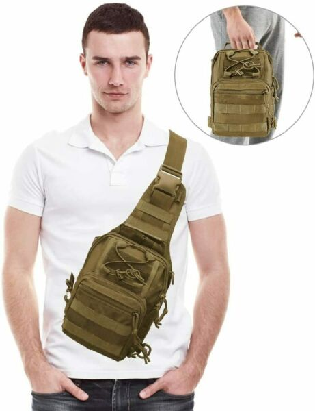 Men#x27;s Tactical Sling Bag Chest Shoulder Molle Small Daypack Backpack for Outdoor $14.99