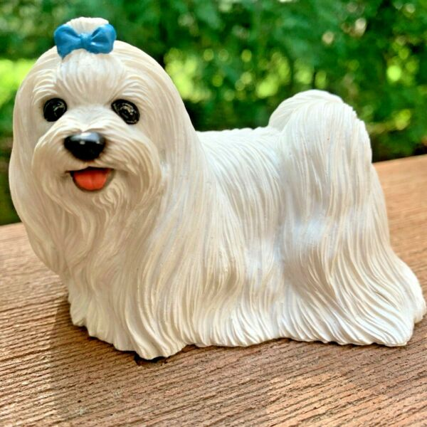 White*Maltese*Mini*Dog*Male*Figurine*Long Haired*Blue*Ribbon*Bow $11.95