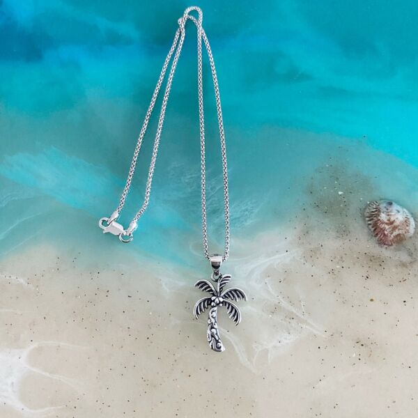 Sterling Silver Coconut Tree Necklace Resilient Necklace Palm Tree Necklace