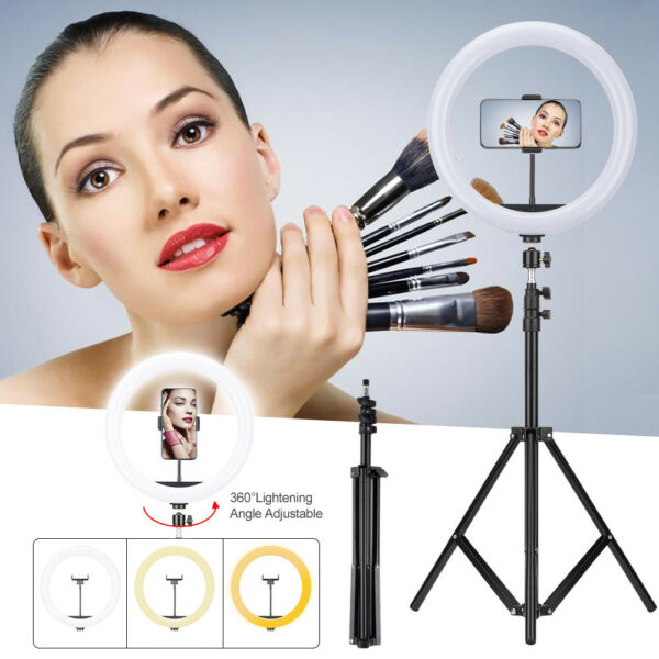 12 inch LED Ring Light Kit amp;Stand Dimmable 5500K for Makeup Studio Phone US
