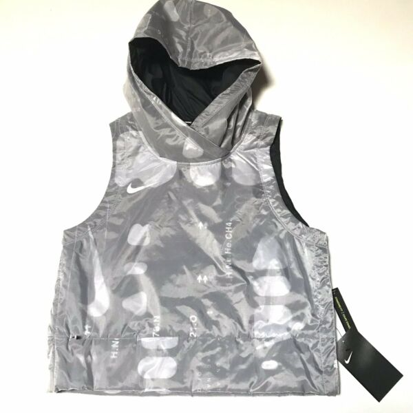 Nike Air $120 Hooded Cropped Running Vest Small Gray Size: Small Water Repelent $48.00