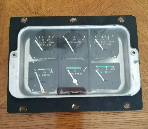 63426 000 62407 000 Piper PA28 180 Cluster Assy Fuel Oil Temp Amps amp; Adapter