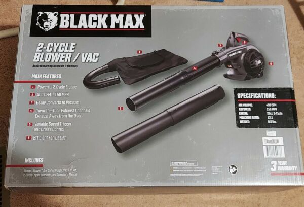 NEW Black Max Powerful 26cc 2 Cycle Engine 400 CFM 150 MPH Gas Blower Vac