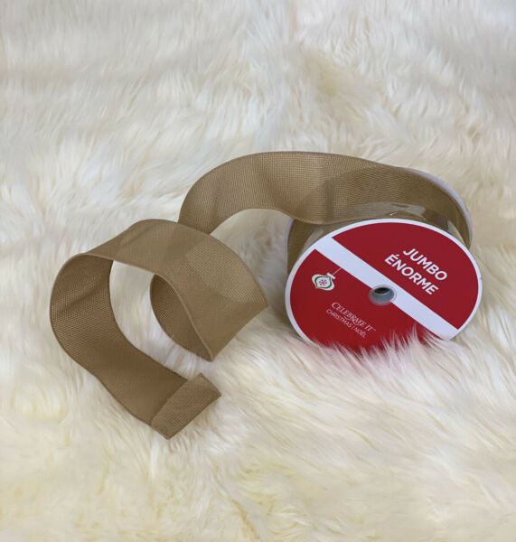 """Celebrate It Jumbo Wired Ribbon Brown Burlap Crafts Christmas 2.5"""" x 100 ft"""