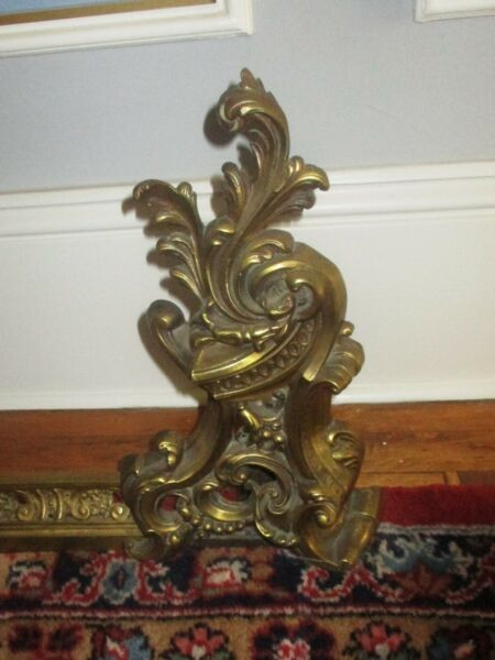 FRENCH STYLE FIREPLACE BRASS CHENETS FENDER