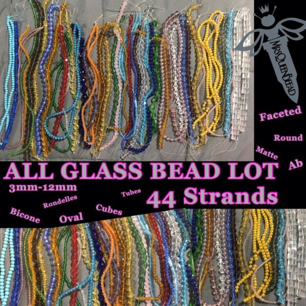 44 Strands Of All GLASS Beads Gorgeous Lot 🖤 Huge Deal 3mm 12mm See Pics 👑🐝13 $34.00