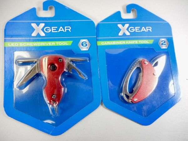 NEW Set of 2 XGear#x27;s One Carabiner Knife Tool and One LED Screwdriver Tool NEW $18.99