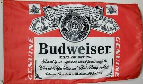 Budweiser Beer Flag 3#x27; X 5 Deluxe Indoor Outdoor Banner