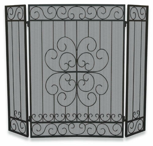 Uniflame 3 Panel Black Wrought Iron Screen w Bars Floral 32quot;x44quot; S 1068 New