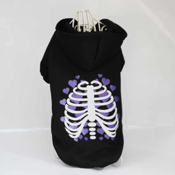 Cute Dogs Long Sleeve Skeleton Purple Heart Costume Sweater Pet Clothes S XL $11.95