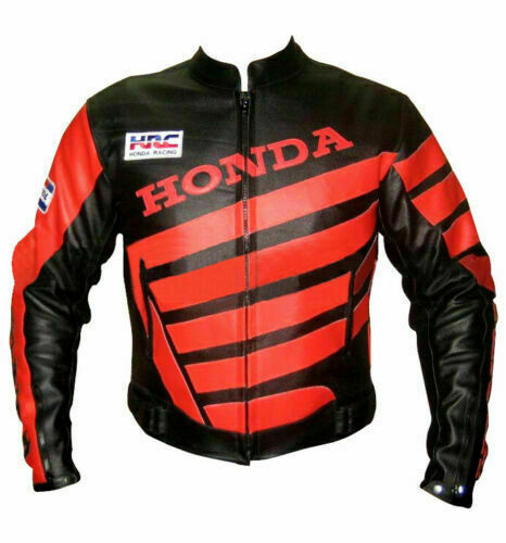 HONDA BLACK COWHIDE LEATHER TRACK DAYS MOTORCYCLE CE ARMOURED JACKET $164.99