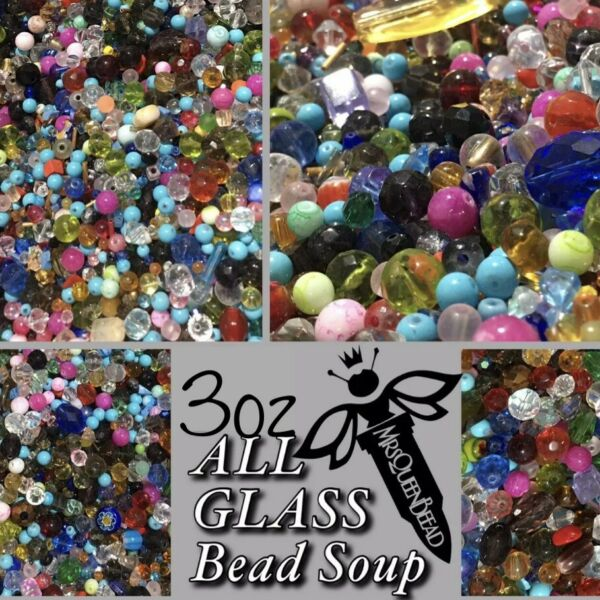 ALL GLASS 3oz Bead Soup 🖤HUGE VARIETY OF HIGH QUALITY BEADS 👑🐝 BEST MIXED LOT $8.99