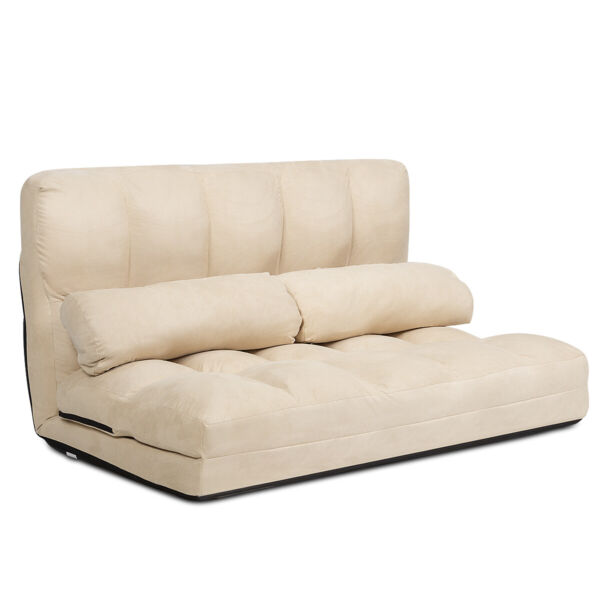 Foldable Floor Sofa Bed 6 Position Adjustable Lounge Couch with 2 Pillows Beige
