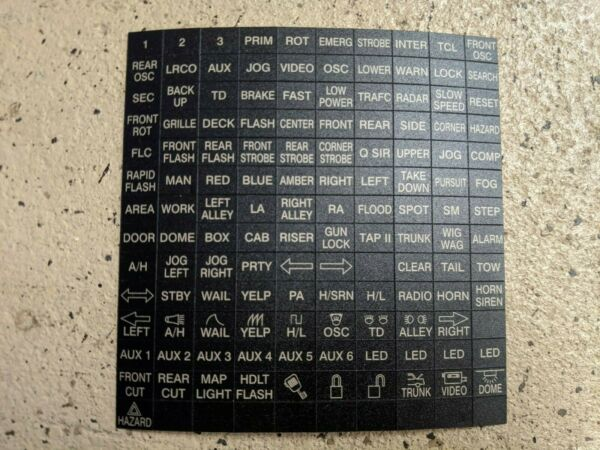 Federal Signal Legend Sticker Sheet for Smart Siren Keypad SS2000 SSP3000