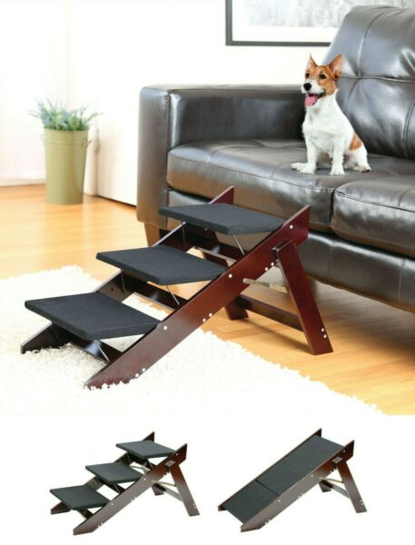 Folding Pet 3 Steps Ramp Dog Cat Ramp Bed Stairs Portable Travel Steps for Car