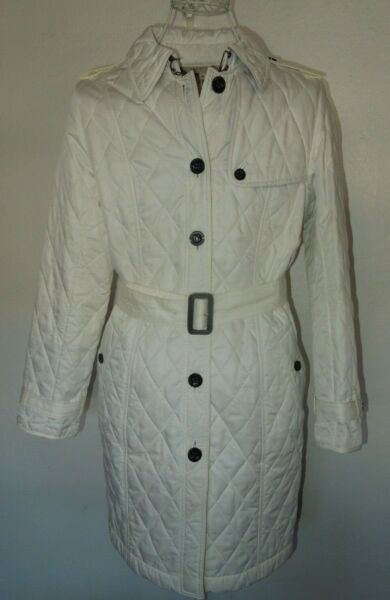 Burberry White Quilted Trench Coat Jacket M $325.99
