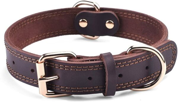 GENUINE LEATHER DOG COLLAR DURABLE ALLOY HARDWARE FOR LONG LASTING USE PREMIUM $20.99