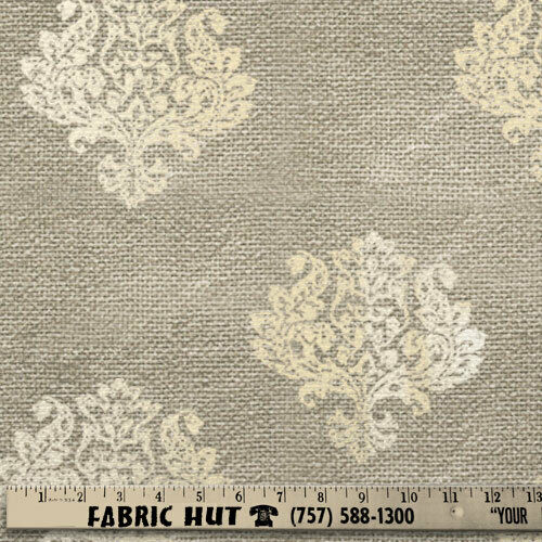 Damask Foil Burlap White 58quot; Fabric by the Yard
