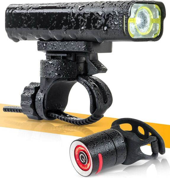 BrightRoad Front and Back LED Lights for Bikes 800 Lumens Headlight IPX6 USB