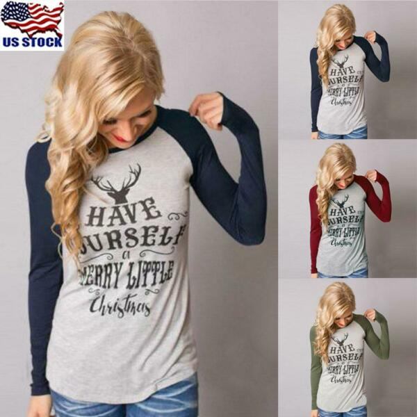 Women#x27;s Xmas Casual T Shirt Pullover Christmas Reindeer Long Sleeve Tops Blouse $9.68