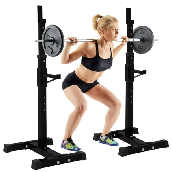 2pc Adjustable Squat Rack Bench Press Weight Exercise Barbell Stand Gym Fitness $92.48