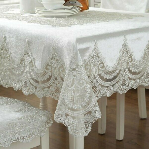Lace Embroidery Tablecloth Velvet European Table Cover Rectangular Round Covers $26.69