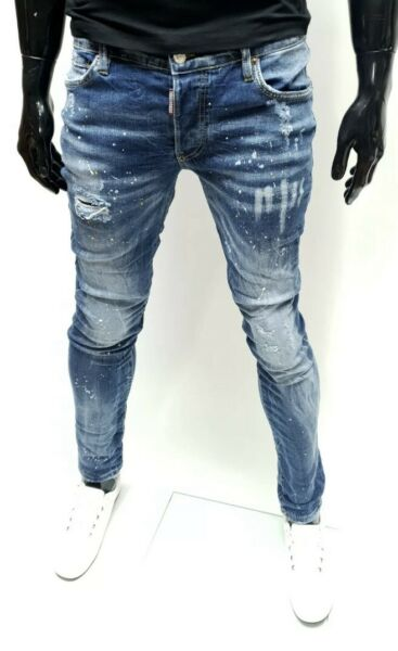 Dsquared2 Men#x27;s Blue Slim Fit AW2020 Washed Jeans Made in Italy 5152 $150.00
